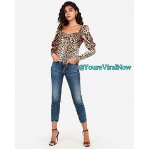Satin Leopard Juliet Sleeve Top